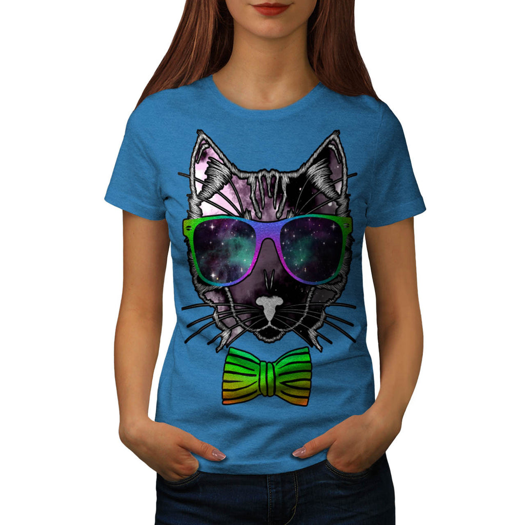 Hipster Cosmos Cat Womens T-Shirt