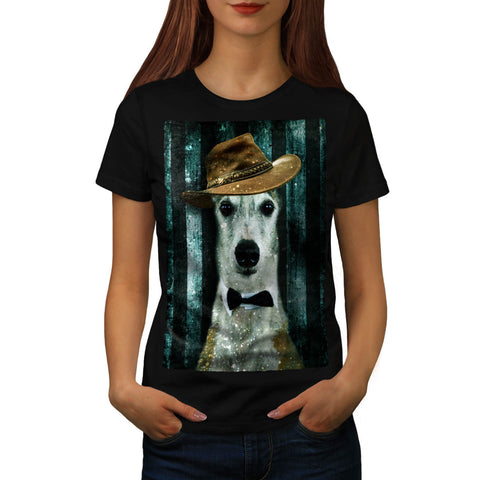 Hipster Dog Face Womens T-Shirt