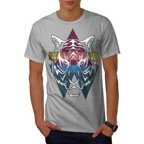 Triangle Tiger Face Mens T-Shirt