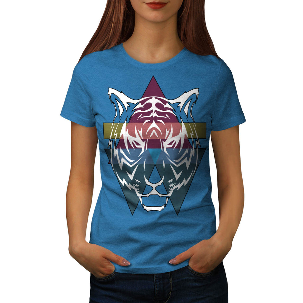 Triangle Tiger Face Womens T-Shirt