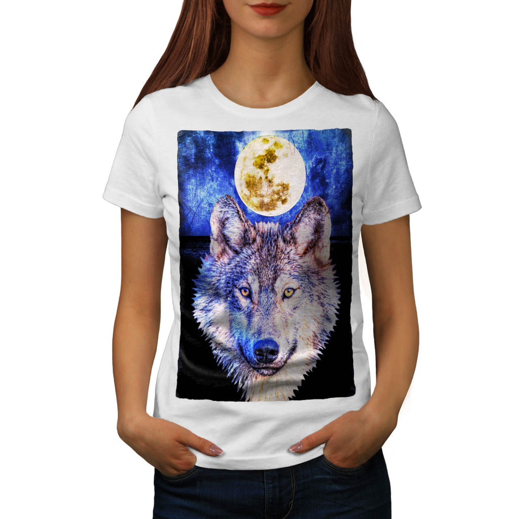 Lonely Wolf Moonlight Womens T-Shirt