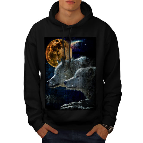 Wolf Pack Moon Light Mens Hoodie