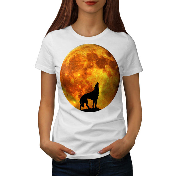 Full Moon Wild Wolf Womens T-Shirt