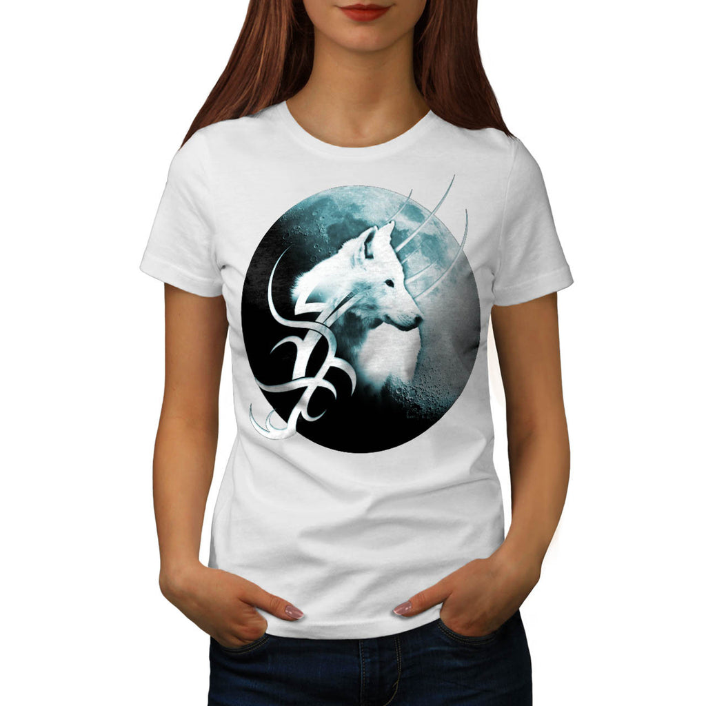 Tribal White Wolf Womens T-Shirt