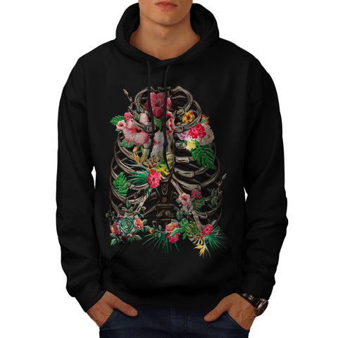 Skull Flower Body Art Mens Hoodie
