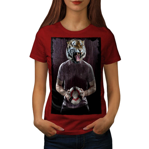 Tiger Football Ball Womens T-Shirt
