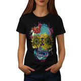 Skull Flower Rose Art Womens T-Shirt