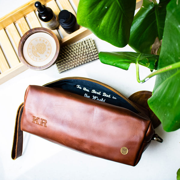 Personalised Leather Wash Bags & Dopp Kits For Men
