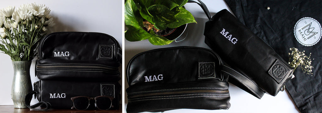 MAHI Leather Black Classic and Raleigh Washbags - Lifestyle shots