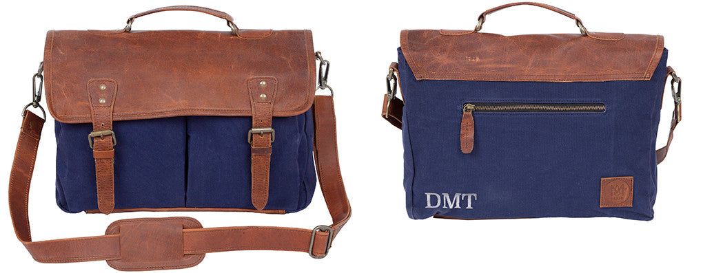 MAHI Leather Classic Messenger in Navy Blue Canvas