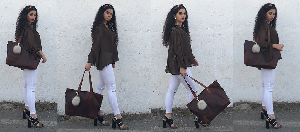 MAHI Leather Classic Tote in Vintage Brown - College / Uni Students
