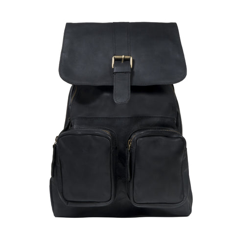 Roma Backpack in Black Leather