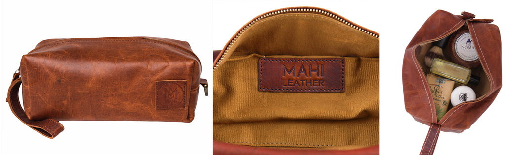 MAHI Leather Classic Washbag in Vintage Brown
