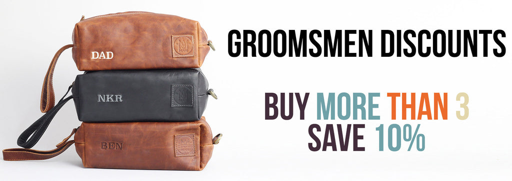 MAHI Leather Groomsmen Discounts - Wash Bags, Dopp Kits