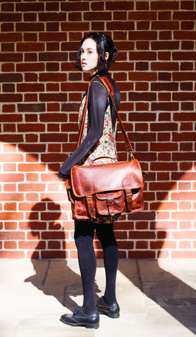Woman with MAHI Leather Harvard Satchel