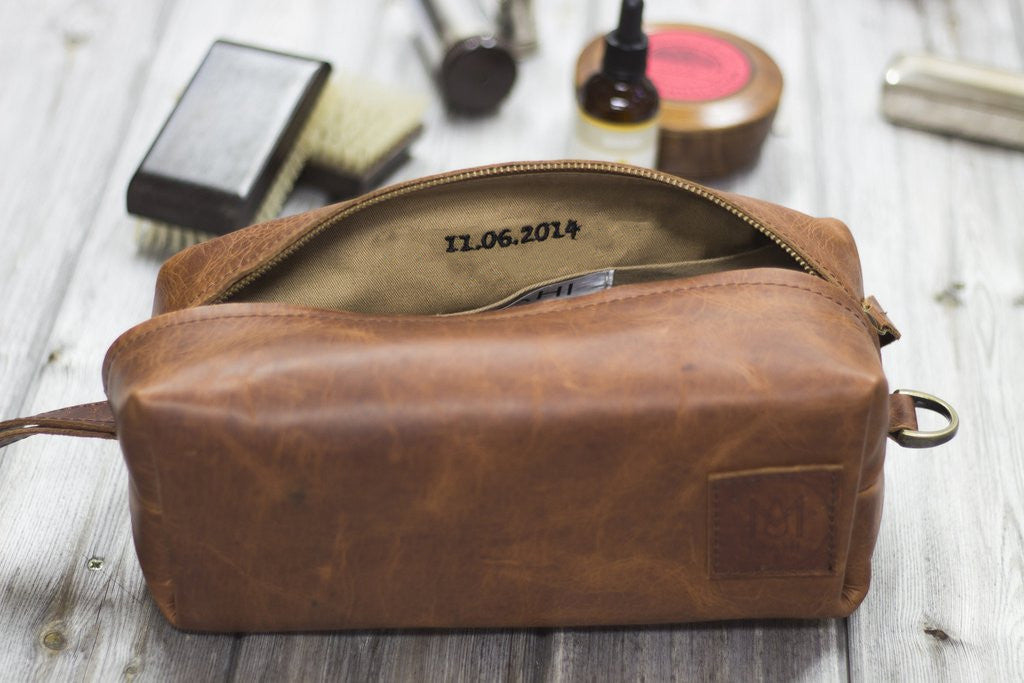 MAHI Leather Classic Washbag in Vintage Brown with Internal Embroidery Personalization