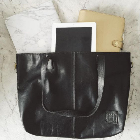 MAHI Leather Tote in Ebony Black - Work Bag