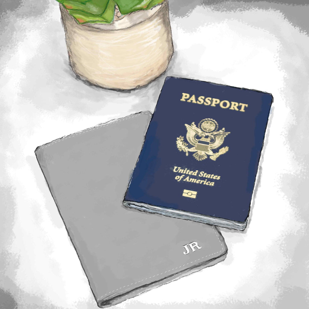 Illustration of a MAHI Leather passport cover