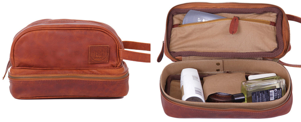 MAHI Leather Raleigh Washbag in Vintage Brown