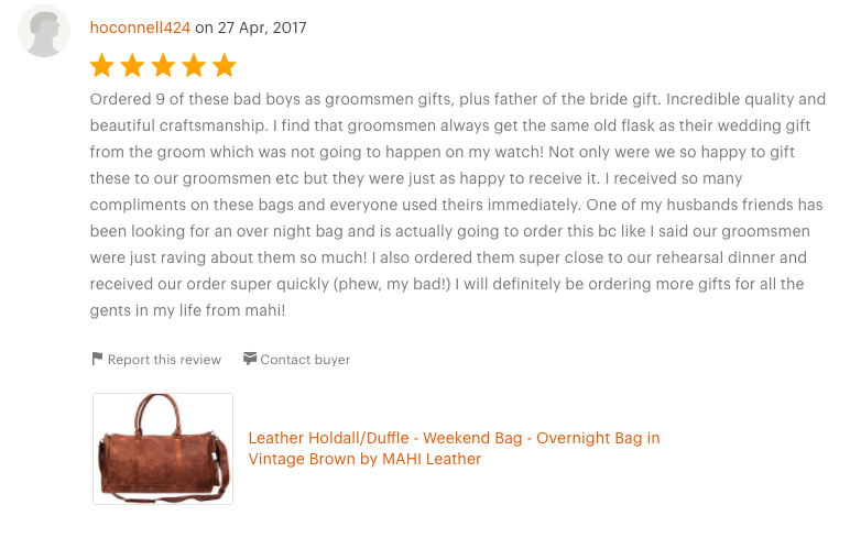 Etsy Review of Overnight Bags as Groomsmen Gifts
