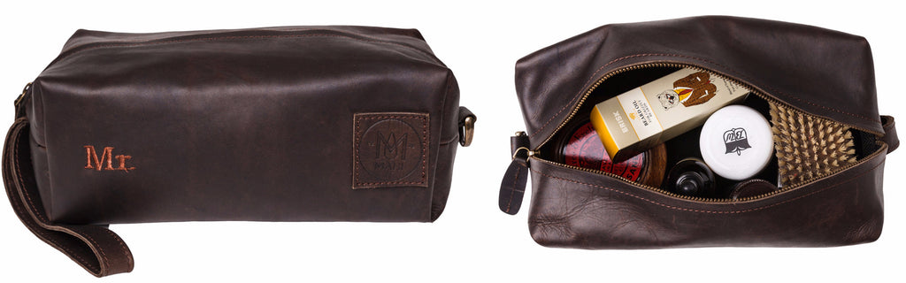 MAHI Leather Classic Washbag in Vintage Mahogany