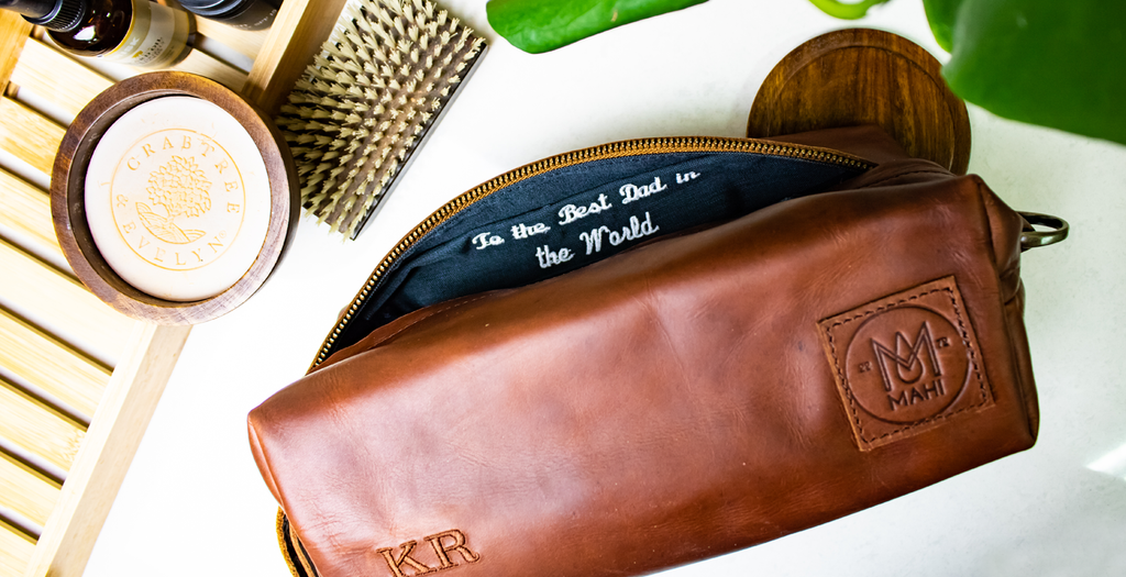 Personalised Leather Wash Bags