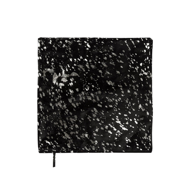Black & Silver Metallic Cowhide Cushion Cover