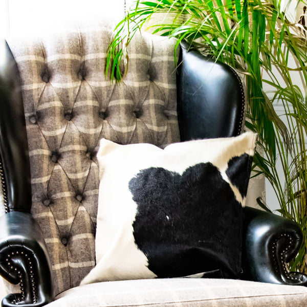 Black & White Natural Cowhide Cushion Cover