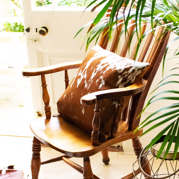 Brown & White Natural Cowhide Cushion Cover