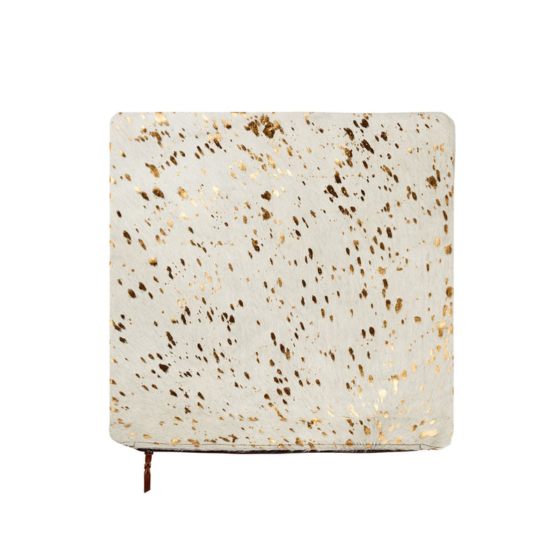 Cream & Copper Metallic Cowhide Cushion Cover