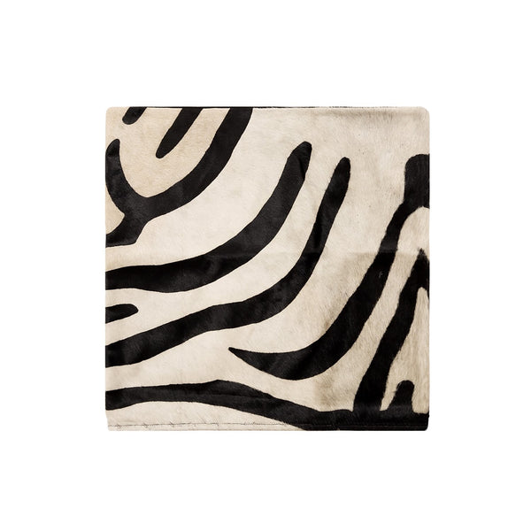 Zebra Print Natural Cowhide Cushion Cover