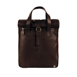 "Mahogany Brown Leather Vintage Style Roll Top Backpack with 15"" Laptop Capacity"