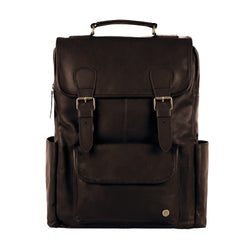 Square Brown Leather Backpack with 15 inch Laptop Capacity