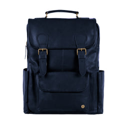 Square Navy Leather Backpack with 15 inch Laptop Capacity