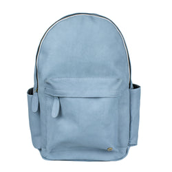 "Vintage Blue Suede Leather Backpack with 15"" Laptop Capacity"