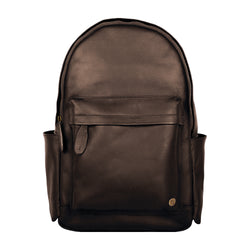 "Classic Dark Brown Leather Backpack with 15"" Laptop Capacity"