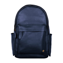 "Classic Navy Leather Backpack with 15"" Laptop Capacity"