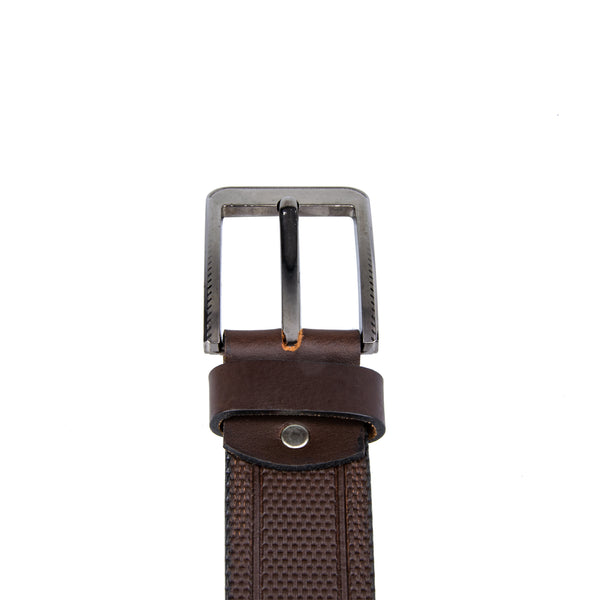 String Print Leather Belt