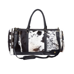 Black and White Natural Cowhide Leather Columbus Weekender