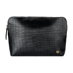 Black Crocodile Print Leather Make-Up Toiletry Bag | Personalized Large Cosmetics Bag
