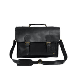 "Black Full Grain Leather Messenger Satchel with 15"" Laptop Capacity"