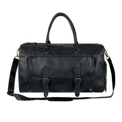 Black Full Grain Leather Overnight Bag with Shoe Compartment