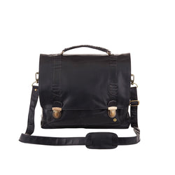 "Black Full Grain Leather Satchel with 15"" Laptop Capacity"