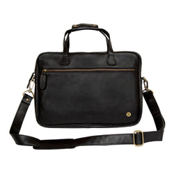 "Black Leather Compact Laptop Bag with 13"" Laptop Capacity"