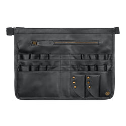 Black Leather Tool Apron for Hairdressers and Make-up artists