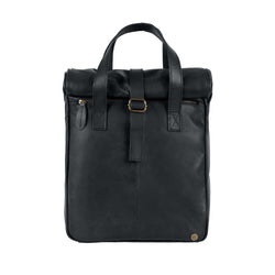 "Black Leather Vintage Style Roll Top Backpack with 15"" Laptop Capacity"