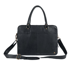 "Black Leather Zip-up Satchel Briefcase with 15"" Laptop Capacity"