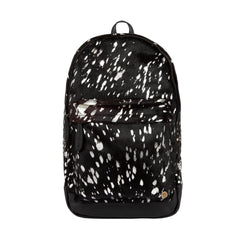 Black Pony Hair and Silver Foil Cowhide Leather Backpack