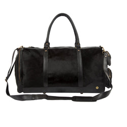 Black 'Pony Hair' Cowhide Leather Columbus Weekender