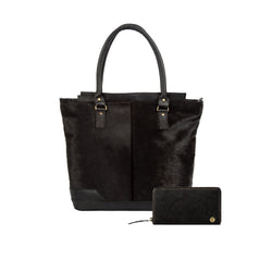 Black Pony Hair Leather Tote Bag & Purse Gift Set